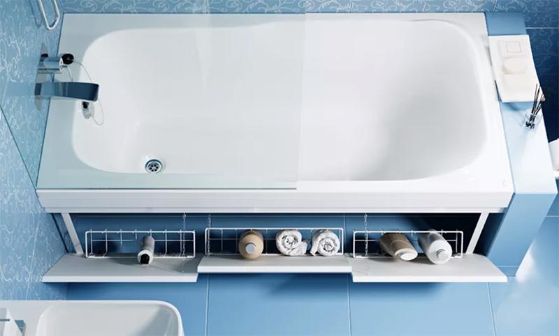 А место под ванной можно организовать для хранения бытовой химии